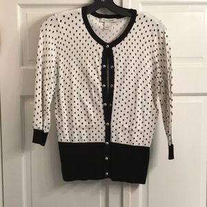 WHBM black and white cardigan